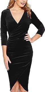 Women 3/4 Sleeve V Neck Velvet Wrap Sheath Cocktail Party Pencil Dress
