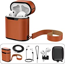 Compatible Airpods Case Leather, 7 in 1 Accessories Genuine Leather Lanyard Protective Cover Portable Holder Anti-Lost Strap Necklace Cord Compatible Apple Airpods 1 & 2 Wireless Charging, Brown