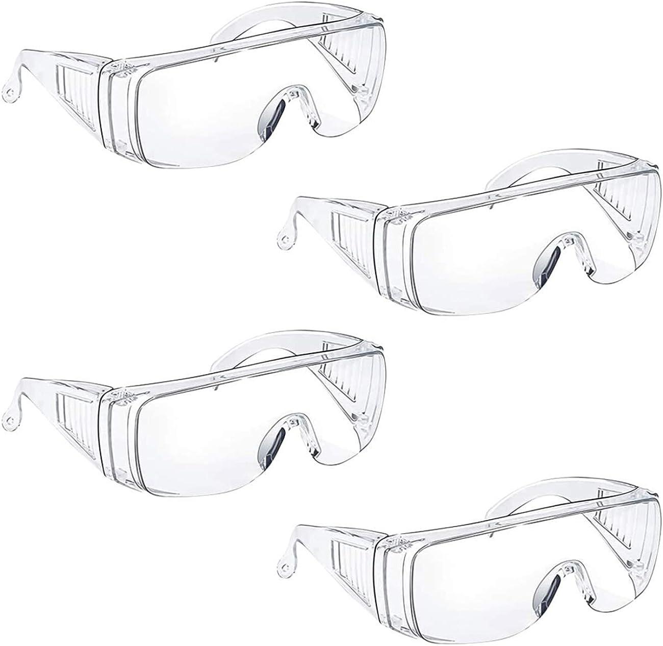LERT 4 piezas gafas transparentes de protección ocular protección ocular antisaliva gafas de seguridad gafas de uso / antivaho / antipolvo / interior / exterior / laboratorio (transparente)
