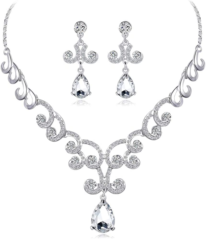 PLMM Collection Wave Austrian Crystal Teardrop Earrings Necklace Wedding Bridal Prom Classic Jewelry Set Bridesmaid