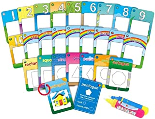 Water Painting Graffiti Book card 26pcs Chidren's Early education Cognitive cards 1-9 Number Colors and Shapes Colouring D...