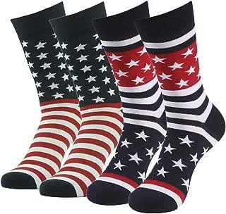 Patriotic American Flag Socks, SUTTOS Unisex Fashion Casual Crew Dress Socks Men Fashion socks Wedding Gift 2-20 Pairs