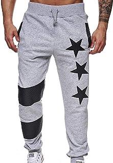 Zantt Men Hip Hop Jogger Elastic Waist Contrast Color Casual Long Pants