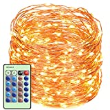 LED String Lights with Remote Control 99ft with 300 LEDs Dimmable Fairy String Lights for Bedroom, Trees, Indoor/Outdoor Copper Lights for Birthday, Wedding, Party UL Certificate Warm White