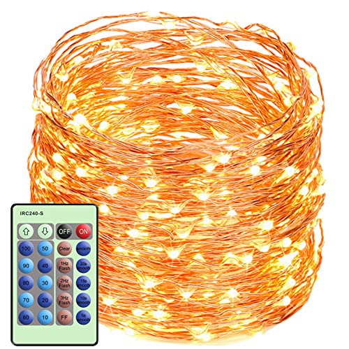 LED String Lights with Remote Control 99ft with 300 LEDs Dimmable Fairy String Lights for Bedroom, Trees, Indoor/Outdoor Copper String Lights for Birthday, Wedding, Party UL Certificate Warm White