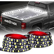 "AMBOTHER 60"" Truck Bed Lights LED Strip Flexible Light with On-Off Switch Fuse 2-Way Splitter Cable for Cargo Boat Pickup RV SUV, No-Drill, 1 Year Warranty, White Light, 2 PCS"