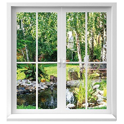Premiumdesign Wandtattoo Fenster Ausblick in Garten in Originalgröße 120 x 130cm farbig #126