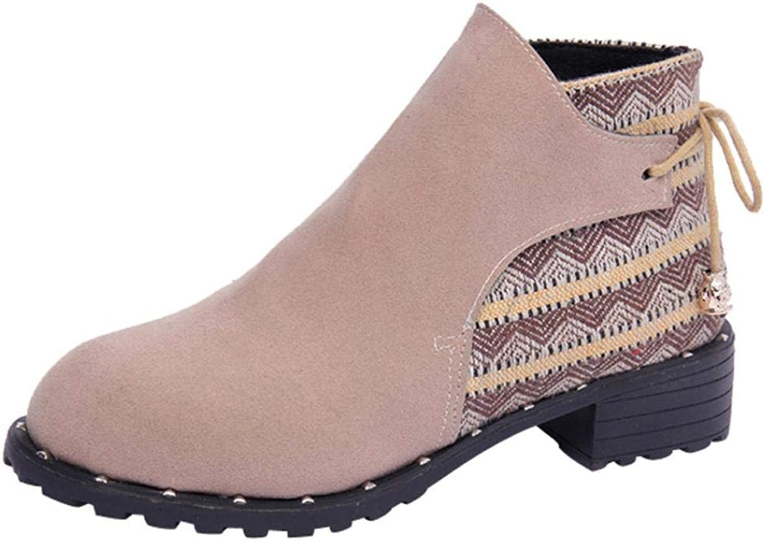 JaHGDU Women Boots Wedges Low Middle Tube Casual shoes Martin Boots Fashion Leisure Elegant Cosy Wild Tight Super Quality Pink Brown for Womens
