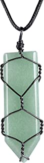 """Nupuyai Healing Crystal Point Pendant with Chain for Women Men, Handmade Wire Wrapped Amulet Stone Necklace 19.6"""""""
