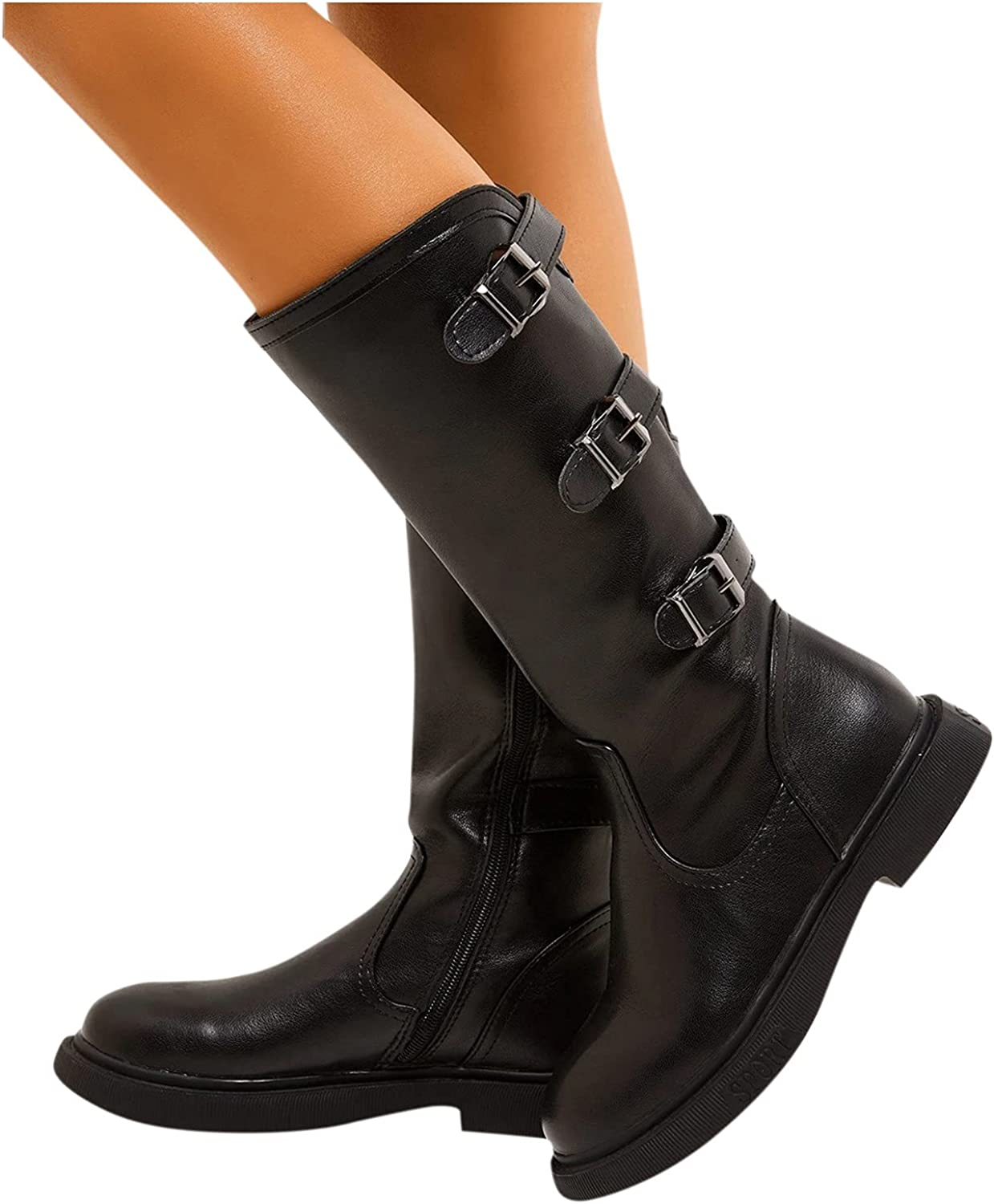 Boots for Womens Fashion Vintage Buckle Thick Heels Mid-Calf Boots Casual Boots for Women Riding Shoes