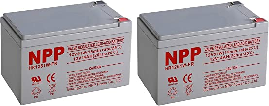 NPPower 12V 14Ah deep Cycle Sealed Lead Acid Recharegable Battery with F2 Style Terminals (2PC)