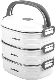Redlemon Lonchera Térmica tipo Bento Box con 3 Contenedores para Alimentos de Acero Inoxidable, Tapa Hermética y Asa para ...