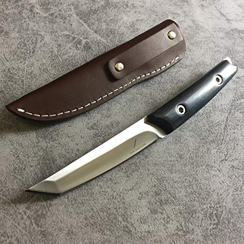 XHM Awesome 8.8-inch Fixed Blade Tanto Knife, 8Cr17Mov Steel Katana Blade, Wood Handle, Genuine Leather Sheath, for Outdoor Survival Camping Hunting