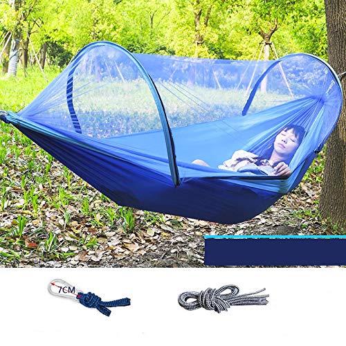 Amaca rimovibile da campeggio all'aperto con zanzariera per 1-2 persone paracadute giardino dondolo sedia a sospensione letto matrimoniale portatile 260x140blue