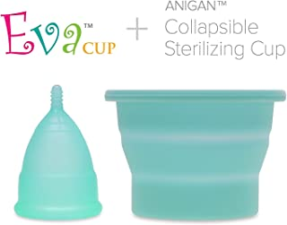 Anigan EvaCup + Collapsible Sterilizing Cup (8 Color Choices) (Small, Cherry Blossom Rose)