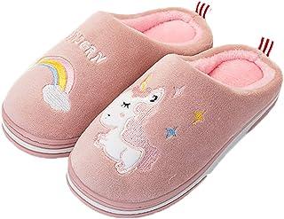 Zapatillas de algodón para interior con diseño de unicornio, antideslizantes, cómodas, cálidas, suaves para invierno para ...