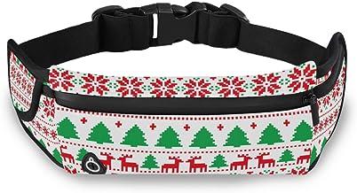 Kerstboom Rendier Sneeuwvlok Taille Pack Bag voor Fietsen Fitness Oefening Waterdichte Verstelbare Workout Fanny Pack Vrou...