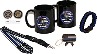 """(2) 11 .oz Check Your Six """"Reaper"""" Thin Blue Line Coffee Cups w/Challenge Coin, Lanyard, Paracord and Key Chain"""