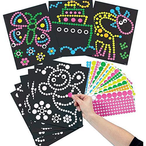 Baker Ross ET113 Ross Bastelset - Bilder mit Klebepunkten - Aufkleber für Kinder zum Abziehen & Auftragen auf vorgedruckte Motive - 8 Stück, 27cm x 20cm
