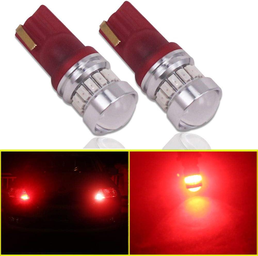 Eseastar T10 W5W 501 Bombillas LED 12V-24V 194 168 161 12961 20LED SMD3014 con proyector para luces laterales de coche, luz interior y más, rojo