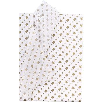 25 Hojas Papel Metalizado Blanco Dorado Con Estampado De Estrellas A Granel Para Papel De Regalo,Manualidades,Bricolaje,Bolsas De Embalaje RUSPEPA Papel De Seda Para Envolver Regalos 50 X 70CM