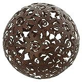 amelex 67 Boule de décoration Soleil, déco de Jardin, métal Brun patiné, Motif Soleil, Effet rouillé