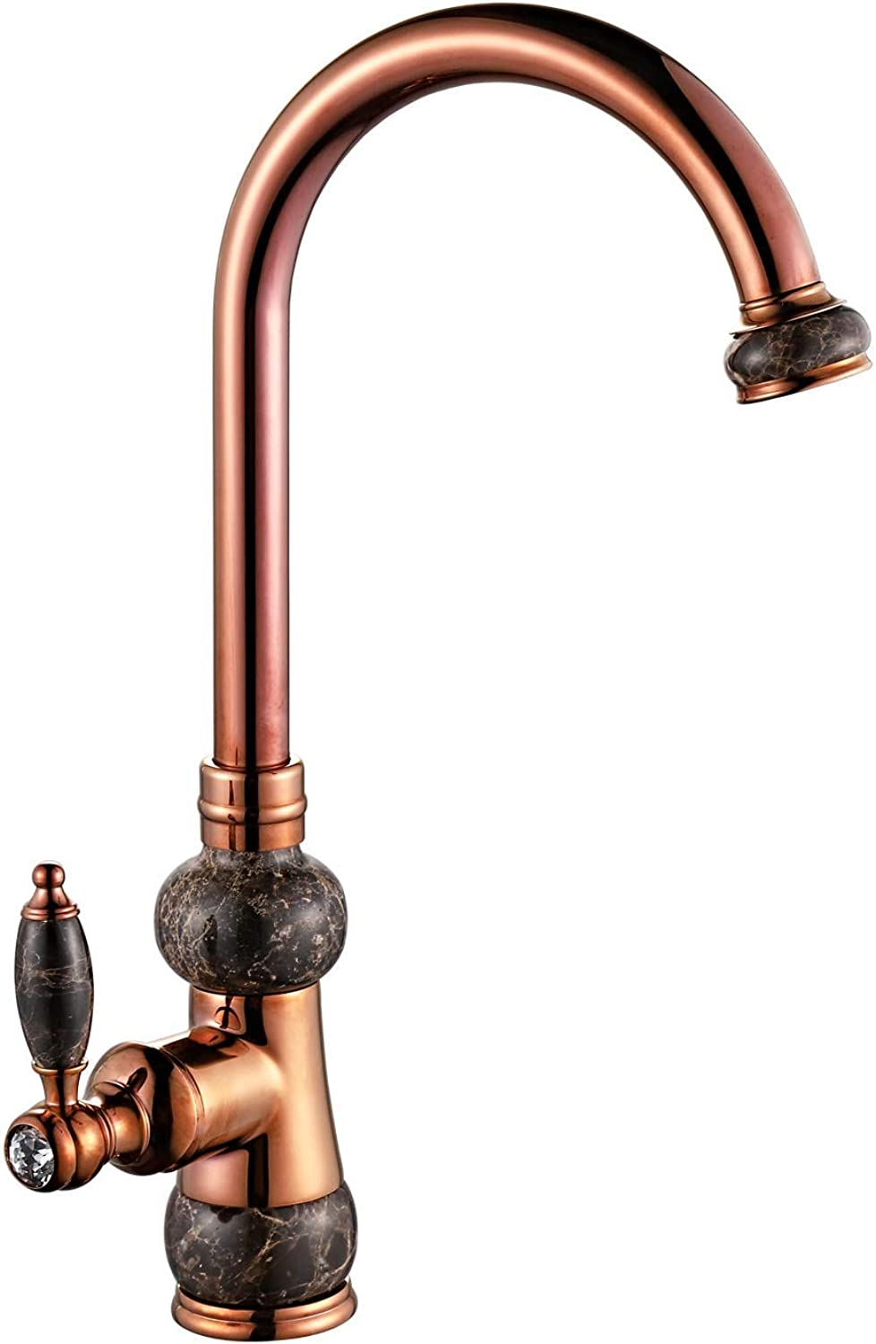 Bathroom Kitchen Sink Faucet,pink gold All Brass Brushed Plating No Lead Creative Retro Faucet Retro Style 360°Swivel Spout Hot and Cold,pinkgoldink