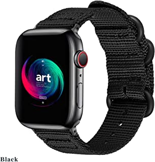 Mucson Compatible for Apple Watch Band 42mm 44mm Nylon Woven iWatch Strap Series 4 Series 3 2 1 Nike Sport Replacement with NATO Buckle Adjustable Wristbands Black