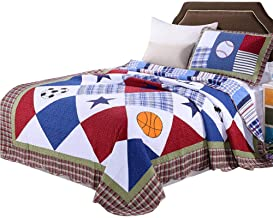 2-Piece Cotton Quilted Bedspread Twin Size Patchwork Quilt Blankets Throw for Children's Room Bedding Decoration Multifunc...