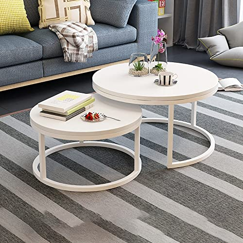 HHMKL Tavolino caffè Incastro Set di 2 tavolini Rotondi Moderni e circolari Tavolini Laterali estremità in Finto Marmo Tavola densità di Marmo Piano Legno Robusta Struttura in Metallo