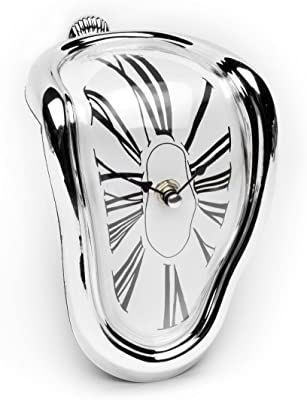 XuBa Funny Surrealist Art Gift Salvador Dali Time Warp Melting Clock Silver Time