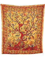 Livets träd sängöverkast orange orientalisk Indien dekor bomull väggkonst B ...