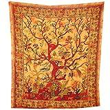 Tagesdecke Lebensbaum orange 230x205cm bunte Vögel Blumen indische Decke Baumwolle Tie Dye Style