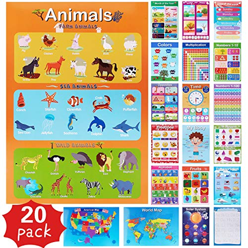 20 Pieces Educational Posters for Toddlers - Preschool Learning Posters for Kindergarten at Homeschool - Educational Posters for Preschool Toddlers Posters Educational