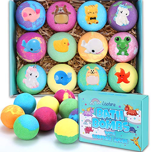 Bath Bombs for Kids with Toys Inside - 12 Gift Set for Girls Boys, Kids Safe Bubble Bath Fizzies...