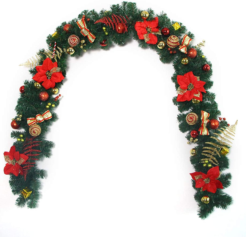 Funpa Christmas Garland Xmas Decor Flower Pine Garland Christmas Ornament M