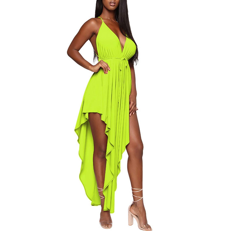Available at Amazon: PORRCEY Women Splice Irregular Halter MIDI Dresses in Summer