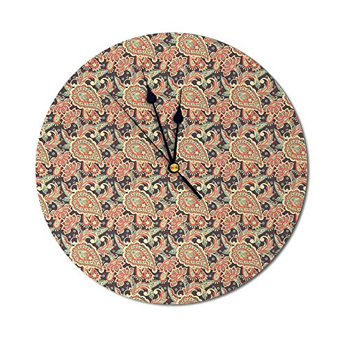 Homesonne DIY Wall Clock Vintage Pattern in Style Curly Leaves and Traditional Paisley Motifs Wooden Noiseless Wall Clock Quiet and Easy to Read Multicolor - 9.84 Inch