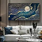 ganlanshu Adorno de Oro Abstracto Moderno Luna pez Lienzo Pintura Mural, Sala de Estar decoración del hogar,Pintura sin Marco,40X60cm
