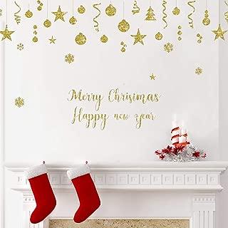 ufengke Pegatina de Navidad Adornos Dorado Vinilos Calcomanías de Ventana Navidad Año Nuevo para Tienda Hogar Vidrios Navidad Decoración