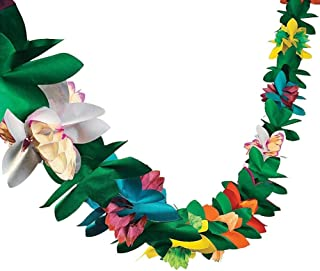 Awhao 3M Long Plastic Pull Flower Hawaii Garland Flower Leaves Tropical Bunting Banner for Party Decorations, Birthdays