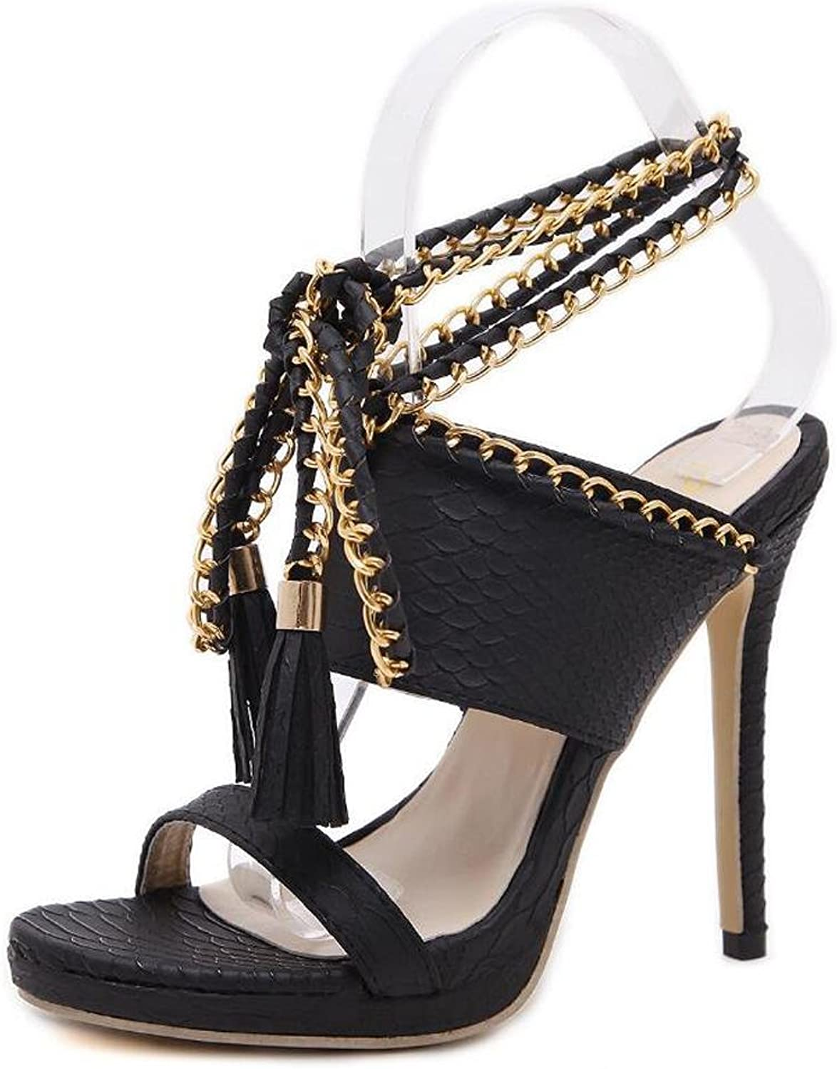 L@YC Women's High Heels Compilation Chain Straps Sandals Comfortable Dance Dress shoes