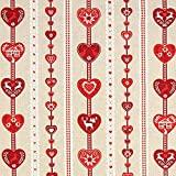 Fabulous Fabrics Weihnachtsstoff rotes Herzmuster – beige