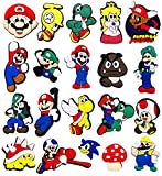 Mario Charms for Crocs Shoe Charms for Kids Teens, Game Party Favors Super Mario Croc Charms for Clogs Bracelet With Holes, 20PCS No Duplicate Crock Jibbets Include Luigi, Yoshi & Princess Daisy