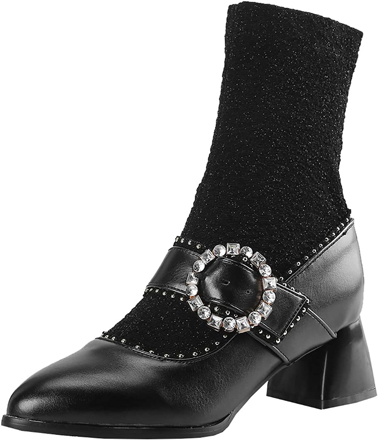 Artfaerie Womens Mary Jane Ankle Boots Block Heel Stretch Boot Lolita Booties with Buckle