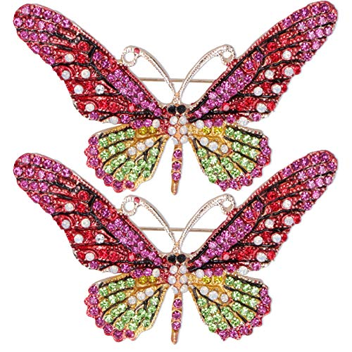 Butterfly Brooch, Zinc Alloy Brooch Pin Badges, Butterfly Fashionable Women Brooch 2pcs Gift Business for Trade Fair Women(red)