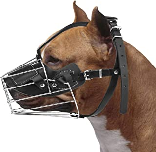 COMFECTO Wire Basket Dog Muzzle for Rottweiler Pitbull German Shepherd Doberman Large Dogs with Adjustable Leather Straps to Prevent Biting Barking Chewing, Metal Muzzle that Allows Panting Drinking