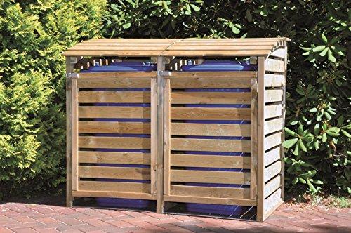 GreenSeason Mülltonnen-Box Mülltonnenverkleidung für 2 Tonnen inkl. Rückwand