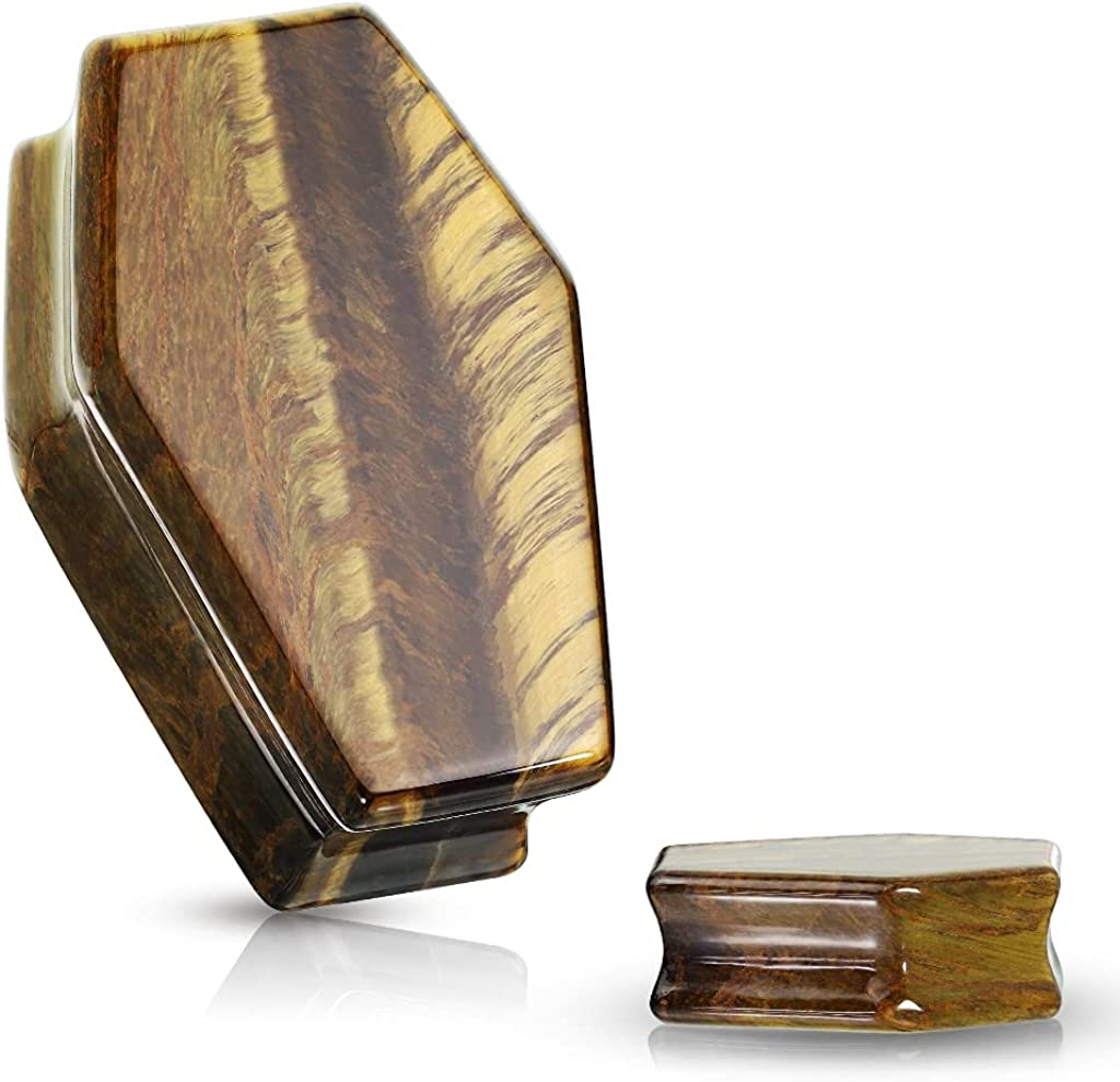 Dynamique Pair of Coffin Double Flare Plugs Tiger Eye Natural Stone