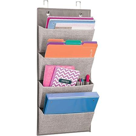 mDesign armoires à suspendre à motif de jute – étagère de rangement polypropylène respirant – meuble de rangement en tissu à suspendre à la porte ou sur le mur – couleur: gris